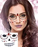 Day of Dead Halloween Face Gems Temporary Tattoos Stickers, Sugar Skull Face Jewels Gems Makeup...