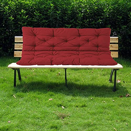 ZJHTK Cojín de banco, 100 x 100 x 10 cm, cómodo, impermeable, antideslizante, 2 o 3 plazas, cojín rectangular para chaise Swing al aire libre, interior, color rojo