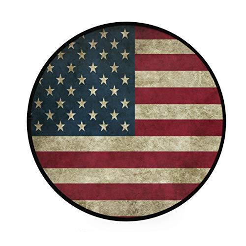 Qilmy American Flag Round Area Rug Non Slip Floor Mat Carpet for Living Room Sofa Bedroom Bathroom Home Decor 36 Inch