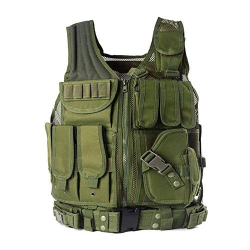 YAKEDA® Chaleco de la policía, Chaleco Militar, Chaleco ejército, Las acciones de Color Caqui/Color de bosques Sello Chaleco Campo Chaleco Chaleco táctico Militar -1063 (Ejército Verde)