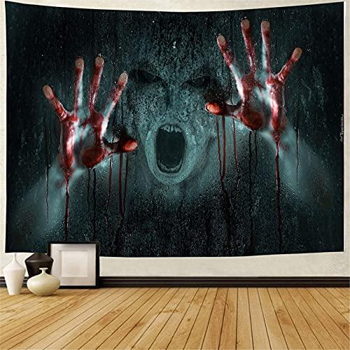 Tapiz de Halloween Colgante de pared Thriller Grim Reaper Tapiz de calabaza Decoración del hogar Paño de pared Paño de fondo A10 150x200cm