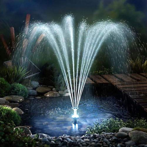 fam famgizmo LED Solarpumpe mit Akku 3W Power, Solar Wasserspiel Teichpumpe Fontäne Pumpe Springbrunnen, inkl. 4 Fontänenaufsätze, für Gartenteich Springbrunnen Licht Teichpumpe Gartenbrunnen