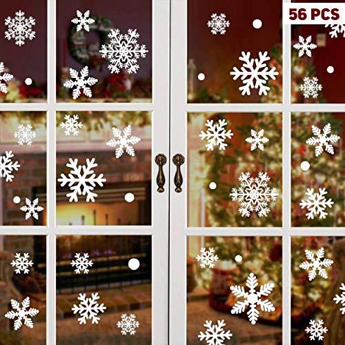 48 PZ Adesivo Fiocco di Neve Natale Vetrofanie Display Rimovibile Adesivi Murali Fai da te Finestra Decorazione Vetrina Wallpaper fiocco di neve (48 PZ)