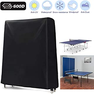 Ping Pong Table Cover, 600D Heavy Duty Waterproof Breathable Oxford Fabric Folding Table Tennis Cover, Indoor/Outdoor(165x70x185cm/65'' x 28'' x 73'')- Black