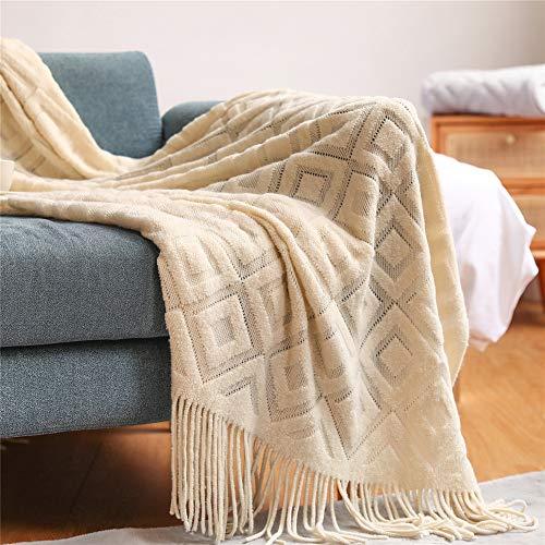 JIAYANLH Kuscheldecke Strickdecke Warme Weiche Decke Modischer Überwurf Für Fernsehen Oder Nap Auf Dem Stuhl, Sofa Und Bet (Beige,127 * 152CM)