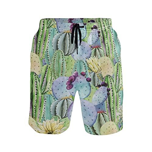 Vnurnrn Kunstbabygeschenk Tropischer Kaktus Herren Badeshorts Badehose mitMesh-Futter Boardshorts für Männer Surf Schwimmhose Sporthose