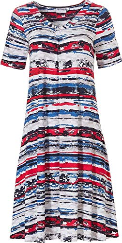 Pastunette Ladies 'Tropical' casual kleding rood, wit & blauw dag- / strandjurken 95 cm lang
