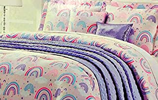 Lil' Envogue Pastel Rainbows Girls Full/Queen Comforter Set with Quilted Coverlet, 2 Shams, 2 Decorative Pillows