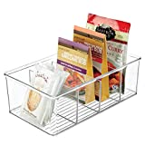 mDesign Caja de almacenaje – Caja organizadora apilable con 4 compartimentos para guardar alimentos – Moderno organizador de cocina para sobres de sopa, especias y mucho más – transparente