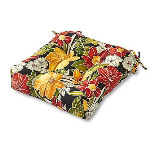 Greendale Home Fashions AZ4800-ALOHA-BLACK Aloha 20-inch Outdoor Dining Seat Cushion