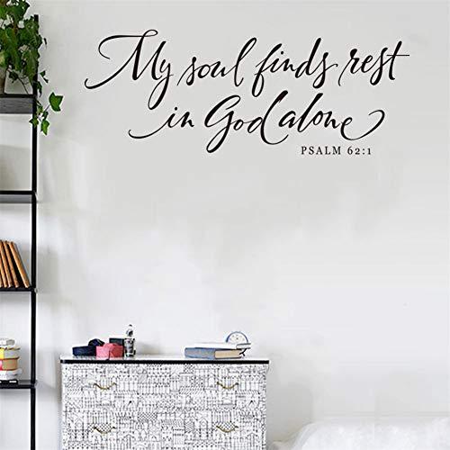 UDPBH My Soul Vindt Rest Psalm Verwijderbare Sticker Art Vinyl muurschildering Home Decor Engels Spreuken Muursticker