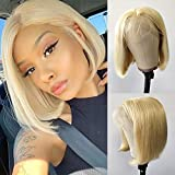 Jessica Hair #613 Blonde Wigs I Part Short Bob Lace Front Wigs Human Hair Wigs For Black Women Silky Straight Lace Wigs Pre-Plucked Hairline Full Ends With Baby Hair(8 Inch)