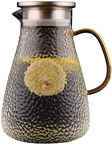 Tetera Tetera 1.6 l / litro Jarrafa con tapa Lanzamiento sin plomo Jugo Jugo Jarra de jarras Jarra de vidrio anti-ráfaga de vidrio jarras jarras de jarras de jarras de agua para agua fría Jugo de frut