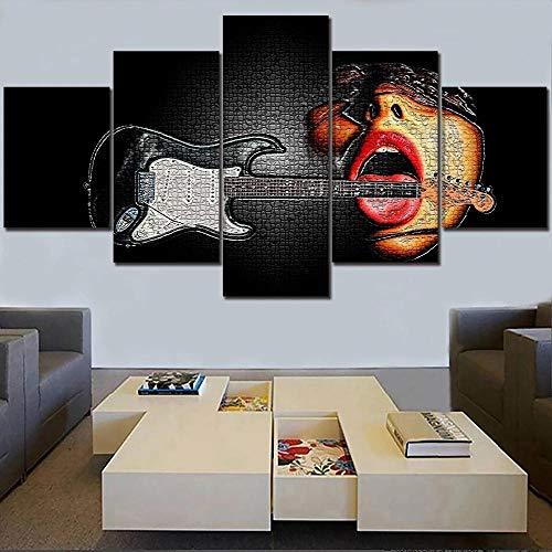 BHJIO 5 Piezas Cuadro sobre Lienzo Imagen Guitarra Y Gente Impresión Pinturas Murales Decor Fotos para Salon Dormitorio Baño Comedor Regalo 80X150Cm