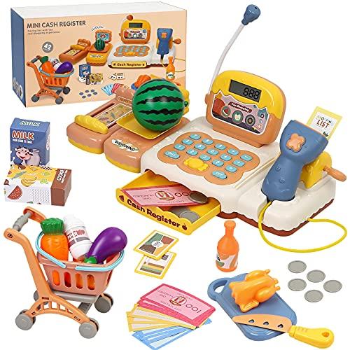 Kasse Kinder Spielzeug, 42 Stück Groß Spielkasse Supermarkt Kasse Kinder Rollenspiel Supermarkt Kaufmannsladen Zubehör Registrierkasse mit Scanner und Lebensmittel, Geschenk für Kinder ab 3 Jahren