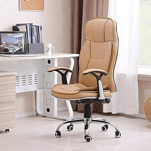 Ergonomic Executive Chair with Headrest, High Back Computer Chair Big and Tall Leather Office Chair Desk Chair with Padded Arms 24X19x28in,Beige