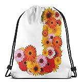 Temporada de verano arreglo floral natural vibrante paleta de colores alfabeto J sign, cordón ajustable con cierre de cordón impreso mochilas bolsas