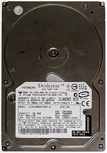 80 GB AT HDD Hitachi Desk Star IC3 5l080avva07 – 0 IDE id13392