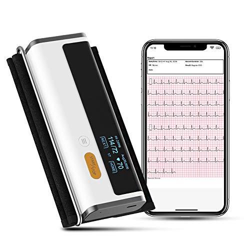 Wellue Armfit Plus Blutdruckmessgerät Bluetooth mit EKG, Oberarmmanschette, kabellosem Herzgesundheitsmonitor zeichnet Blutdruck, EKG und Herzfrequenz auf, kostenlose App für iOS und Android