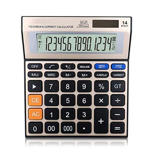 Ghic Calculadora, Pantalla Grande de 14 dígitos Panel de Metal Calculadora de Escritorio de Doble energía Solar, supermercado, Centro Comercial, calculadora financiera