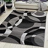 Carpeto Rugs Teppich Wohnzimmer Kurzflor Grau Modern Geometrisch Muster Öko-Tex 130 x 190 cm