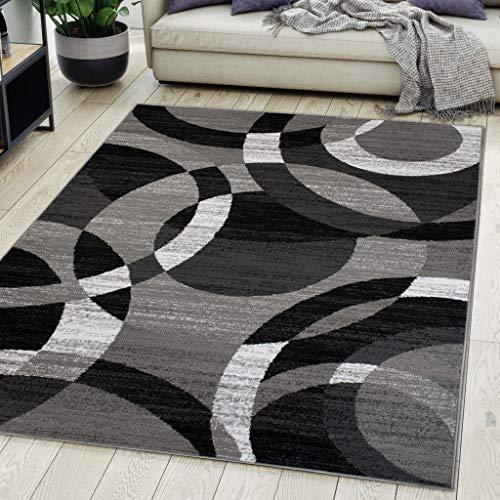 Carpeto Rugs Teppich Wohnzimmer Kurzflor Grau Modern Geometrisch Muster Öko-Tex 140 x 200 cm