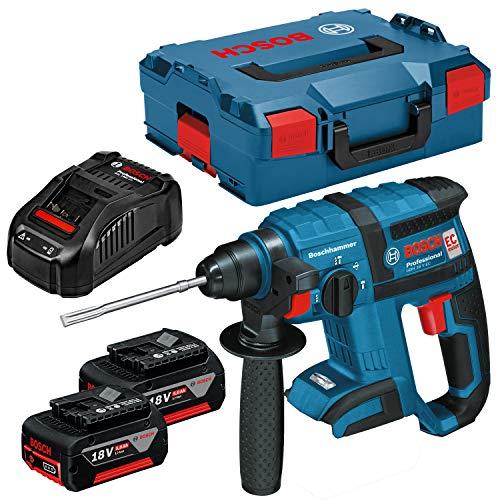 Bosch Professional 061190400F GBH 18 V-EC Schlagbohrhammer, 2 x 5,0 Ah Akku, Schnellladegerät, Tiefenanschlag, L-BOXX, 42922