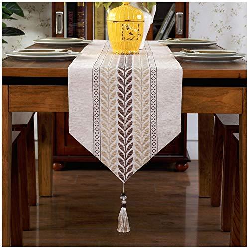 Caminos de mesa Chino Zen Table Runner Decoración Comedor Mesa Borla Mantel decoración para la Cena de Boda (Color : Beige, Size : 33 * 180cm)