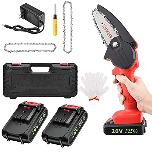 4 inch Mini Chainsaw Cordless Portable Handheld Electric Power Chain Saw with 2 Rechargeable Battery and Replaceable Chain,For Tree Branch Wood Cutting Logging Garden Pruning Shears Patio Trimming