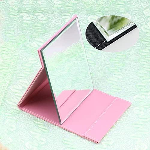 TTBB Espejo Plegable/Espejo De Viaje/Espejo De Maquillaje Plegable Portátil De PU/Negro,Blanco,Rosa,Rojo/con Funda Tapizada En Artificial/Mucha Claridad (Color : Pink, Size : 21×15cm)