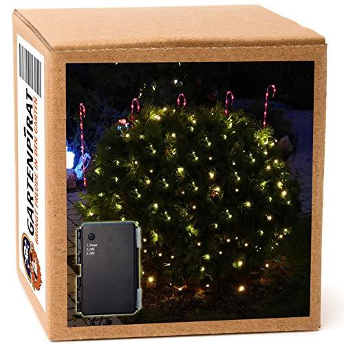 Batterie-Lichternetz 2 x 2 m mit 160 LED warmweiß und Timer für außen