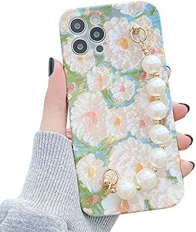 ZTOFERA Compatible with iPhone 11 Case, 6.1-Inch, Cute Girls Matte Shockproof Silicone Case with Pearl Chain Flower Pattern Protective Bumper Cover for iPhone 11, Cream Flower