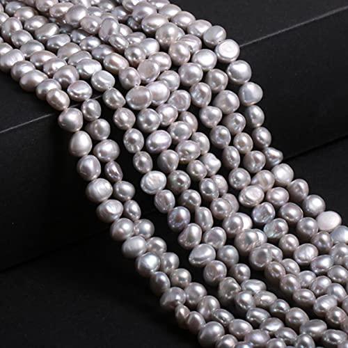 Perlas de agua dulce naturales, blancas, rosas, irregulares, para hacer joyas, bricolaje, pendientes, pulsera, collar, accesorios, gris, 7-8 mm, 50 piezas