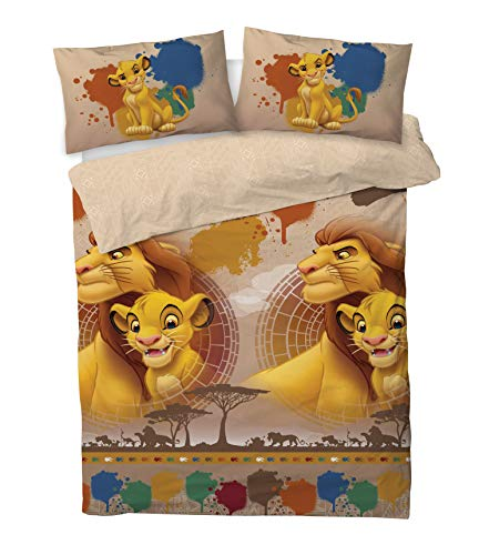 Disney Lion King Double Duvet Cover Bedding Set With Matching Pillow Cases (SIMBA & MUFASA, DOUBLE (200cm x 200cm))