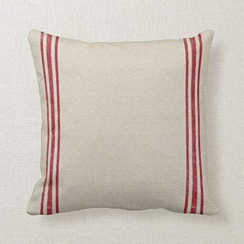 CELYCASY Funda de cojín decorativa con diseño de rayas rojas para sofá, dormitorio, cojín lumbar, funda de almohada de 18 x 18 pulgadas