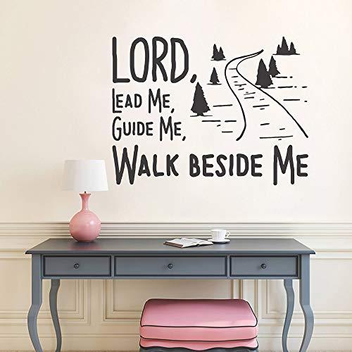 yaonuli leid je me te voet naast Mir inspirerende christelijke muursticker slaapkamer huis interieur kunst sticker