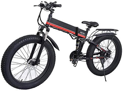 RDJM Bici electrica, Bicicleta eléctrica, 26 Pulgadas Fuera de Carretera Bicicleta de montaña 1000W Potente E-Bici 48V 12.8AH Camino de la Nieve Plegable Bicicleta eléctrica E-Bike MX-01