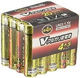 オーム OHM Vアルカリ電池単4形 20本パック LR03/S20P/V