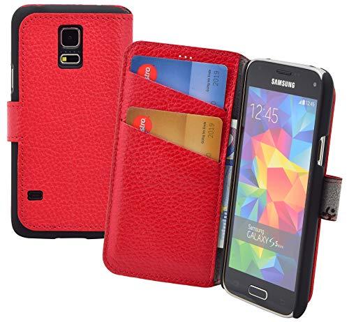 Suncase Book-Style (Slim-Fit) Ledertasche Handytasche Schutzhülle Case Hülle (mit Standfunktion und Kartenfach) kompatibel mit Samsung Galaxy S5 Mini Tasche in rot