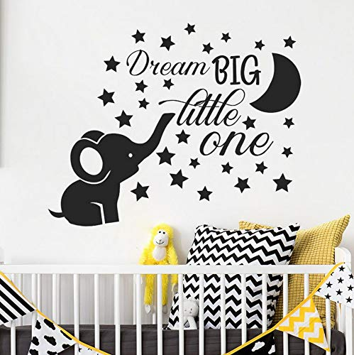 Stickers Muraux Éléphant Nursery Sticker Bébé Garçon Room Decor Dream Big Little One Quote Mur Vinyle Autocollants Lune Et Étoiles Stickers Enfants 71X57Cm