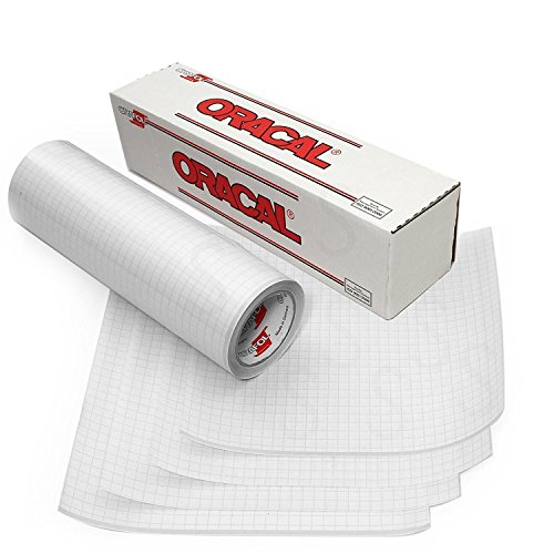 Oracal 12' X 10' Feet Roll Clear Transfer Tape w/Grid for Adhesive Vinyl | Vinyl Transfer Tape for Cricut, Silhouette, Cameo. Application Paper Transfer Tape Rolls