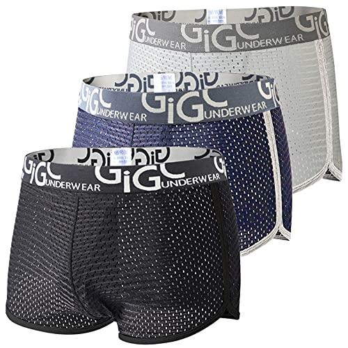 ボクサーパンツ メンズ 下着 3枚セット 前閉じ 速乾 通気 メッシュ 蒸れない パンツ 男性 ローライズ ボクサー ブリーフ 大きいサイズ