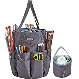 HOMEST XL Yarn Storage Tote, These Large Craft Supplies Organizer Bag Have 16 Pockets for Knitting...