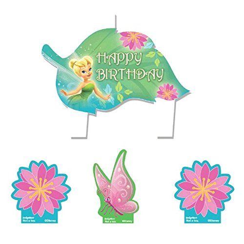 amscan Party Time© Disney Fée Clochette moulé Mini Personnage Ensemble de Bougies d'anniversaire, Lot de 4, Vert, 3,2 cm Cire