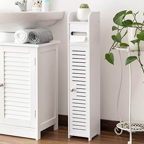 Small Bathroom Storage Corner Floor Cabinet with Doors and Shelves,Thin Toilet Vanity Cabinet,Narrow Bath Sink Organizer,Towel Storage Shelf for Paper Holder,White by AOJEZOR