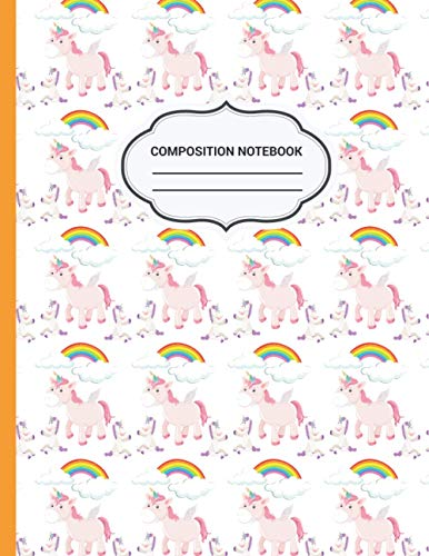 Unicorn Composition Notebook: unicorn sprinkles design cover, wide ruled notebook for school