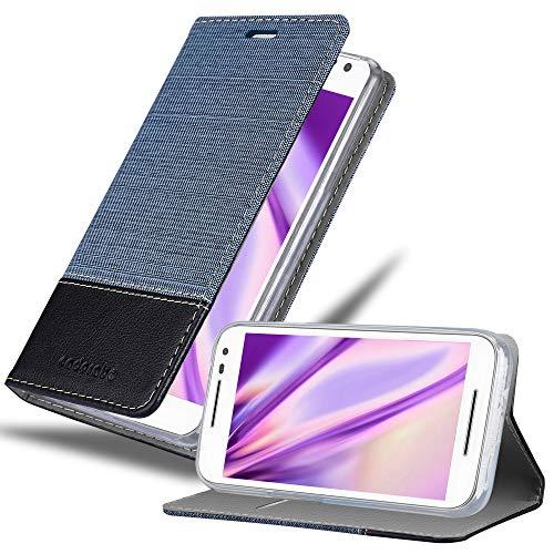 Cadorabo Hülle für Motorola Moto G3 in DUNKEL BLAU SCHWARZ - Handyhülle mit Magnetverschluss, Standfunktion & Kartenfach - Hülle Cover Schutzhülle Etui Tasche Book Klapp Style
