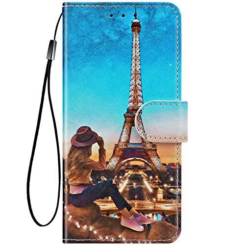 Felfy Kompatibel mit LG K50 / Q60 Hülle Bunte Painted Muster Schutzhülle,Handyhülle für LG K50 PU Lederhülle Magnet Klapphülle Tasche mit Kartenfach/Standfunktion - Turm