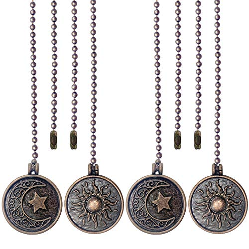 Iceyyyy Newst Style Ceiling Fan Pull Chain Set - 4Pcs 13.4 inches Sun & Moon Pattern Pull Chains Pendant Extension Copper Beaded Ball Fan Pull Chain Extender with Ornaments for Ceiling Light Lamp Fan