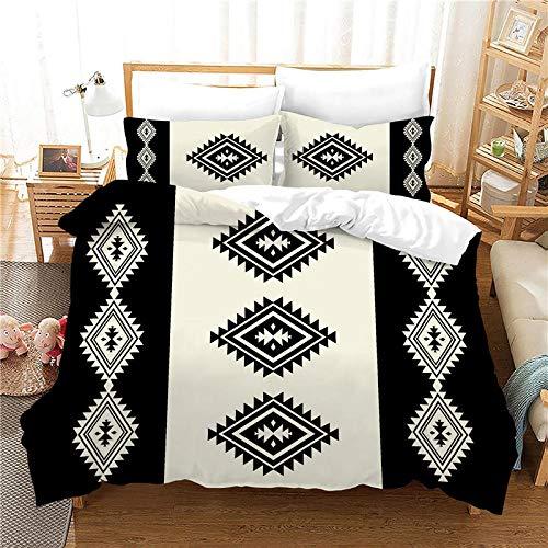 AHKGGM Duvet Cover Set Double Black and white indian Bedding Set 3 Piece Ultra Soft Printed Quilt Cover Set - 1 Duvet Cover & 2 Pillow Case Microfiber With zipper Comforter Cover Set